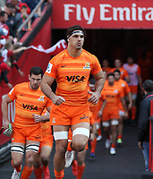 Pablo Matera (captain) of the Jaguares leads his team out during the Super Rugby quarter-final match between the Emirates Lions and the Jaguares at the Emirates Airlines Park Stadium,Johannesburg, South Africa on Saturday, 21 July 2018. Photo: Steve Haag / stevehaagsports.com