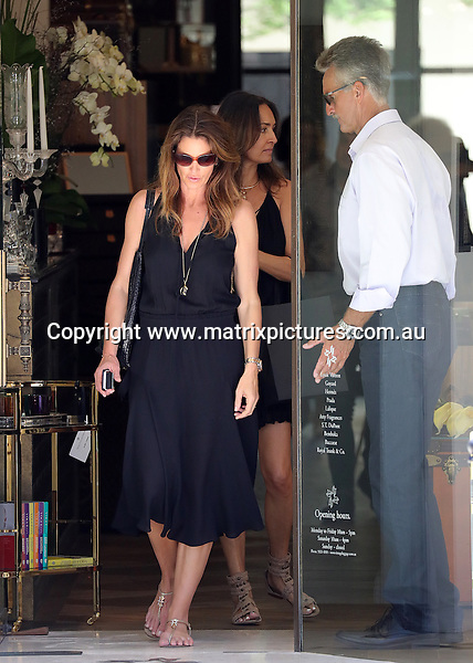 9 FEBRUARY 2017 SYDNEY AUSTRALIA<br /> WWW.MATRIXPICTURES.COM.AU<br /> <br /> NON EXCLUSIVE PICTURES<br /> <br /> Cindy Crawford pictured shopping in Tranvall Avenue Double Bay and going for lunch at Catalina. <br /> <br /> Matrix Media Group.Note: All editorial images subject to the following: For editorial use only. Additional clearance required for commercial, wireless, internet or promotional use.Images may not be altered or modified. Matrix Media Group makes no representations or warranties regarding names, trademarks or logos appearing in the images.