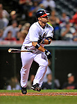 13 September 2008: Cleveland Indians' catcher Kelly Shoppach in action against the Kansas City Royals at Progressive Field in Cleveland, Ohio. The Royals defeated the Indians 8-4 in the second game, sweeping their double-header...Mandatory Photo Credit: Ed Wolfstein Photo