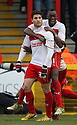 Dani Lopez of Stevenage (l) celebrates scoring his third goal with Lucas Akins. Stevenage v Sheffield United - npower League 1 -  Lamex Stadium, Stevenage - 16th March, 2013. © Kevin Coleman 2013.. . . .