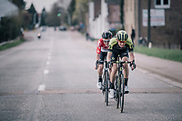 breakaway duo Jack Haig (AUS/Michelton-Scott) &amp; Tosh Van der Sande (BEL/Lotto-Soudal)<br /> <br /> 58th De Brabantse Pijl 2018 (1.HC)<br /> 1 Day Race: Leuven - Overijse (BEL/202km)