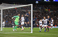 PSV Eindhoven's Angelino clears off the line from Tottenham Hotspur's Dele Alli<br /> <br /> Photographer Rob Newell/CameraSport<br /> <br /> UEFA Champions League -Group B - Tottenham Hotspur v PSV Eindhoven - Tuesday 6th November 2018 - Wembley Stadium - London<br />  <br /> World Copyright © 2018 CameraSport. All rights reserved. 43 Linden Ave. Countesthorpe. Leicester. England. LE8 5PG - Tel: +44 (0) 116 277 4147 - admin@camerasport.com - www.camerasport.com