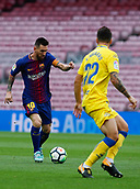 1st October 2017, Camp Nou, Barcelona, Spain; La Liga football, Barcelona versus Las Palmas; Leo Messi of FC Barcelona controls the ball as Navarro Jiménez closes down as the game is played behind closed doors due to the riots in Barcelona during the Catlaonio referendum
