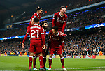 Liverpool's Mohamed Salah celebrates scoring his sides opening goal during the Champions League Quarter Final 2nd Leg match at the Etihad Stadium, Manchester. Picture date: 10th April 2018. Picture credit should read: David Klein/Sportimage