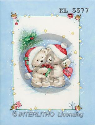 Interlitho, Denise, CHRISTMAS ANIMALS, paintings, 2 polar bears, gift(KL5577,#XA#) Weihnachten, Navidad, illustrations, pinturas