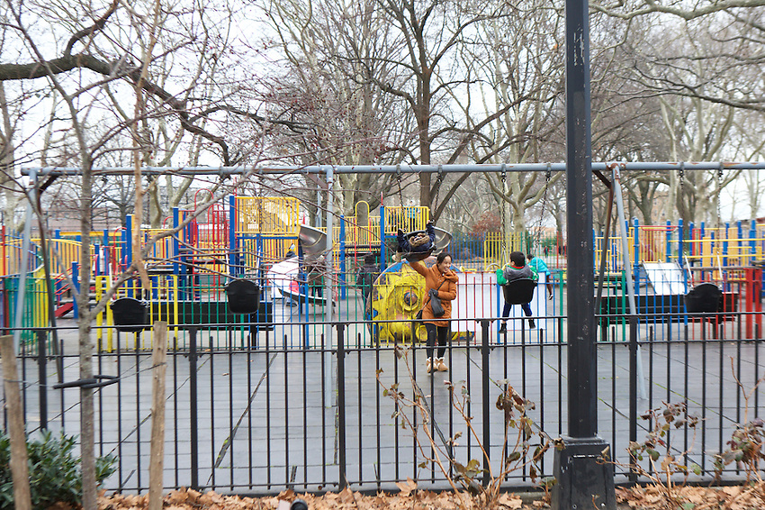 BROOKLYN, NY - JANUARY 17, 2016: The playground in Sunset Park.<br /> LOCATION: Sunset Park, Between 5th and 7th Avenues, from 41st to 44th Streets.<br /> CREDIT: Clay Williams for the New York Times.<br /> <br /> &copy; Clay Williams / claywilliamsphoto.com
