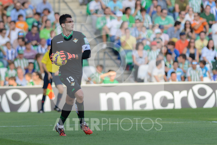 Betis's goalkeeper Adan during the match between Real Betis and Recreativo de Huelva day 10 of the spanish Adelante League 2014-2015 014-2015 played at the Benito Villamarin stadium of Seville. (PHOTO: CARLOS BOUZA / BOUZA PRESS / ALTER PHOTOS)