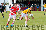 Feale Rangers Ger Mc Carrig and West Kerry Jason Hickson  in an action during the Kerry Senior Football Championship match at Pairc Ghallarus on Sunday afternoon.