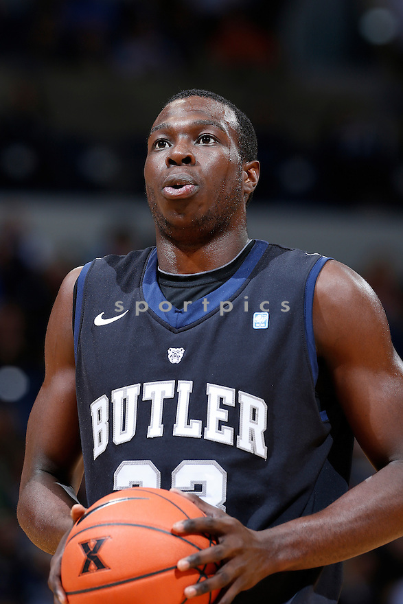 CINCINNATI, OH - NOVEMBER 13: Khyle Marshall #23 of the Butler Bulldogs shoots a free throw against the Xavier Musketeers during the game at Cintas Center on November 13, 2012 in Cincinnati, Ohio. Xavier won 62-47. Khyle Marshall
