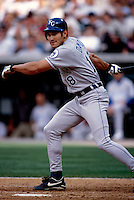 Johnny Damon of the Kansas City Royals plays in a baseball game at Edison International Field during the 1998 season in Anaheim, California. (Larry Goren/Four Seam Images)