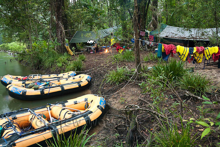 Rainforest campsite on a white water rafting expedition of the North Johnstone River.  Wooroonoonan National Park, Queensland, Australia