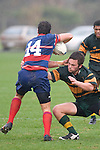 Paul Ivamy tackles Whaiora Rangiwai. Counties Manukau Premier Club Rugby semi final game between Ardmore Marist & Pukekohe played at Bruce Pulman Park Papakura on Saturday July 19th 2008. Ardmore Marist won 18 - 15 & will meet Patumahoe in the final next weekend.