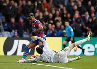 7th March 2020; Selhurst Park, London, England; English Premier League Football, Crystal Palace versus Watford; Jordan Ayew of Crystal Palace shot is saved by Goalkeeper Ben Foster of Watford