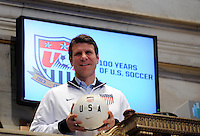 former U.S. Men's National Team star Jeff Agoos poses for a photo during the centennial celebration of U. S. Soccer at the New York Stock Exchange in New York, NY, on April 02, 2013.