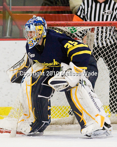 Joe Cannata (Merrimack - 35) -  - The visiting Merrimack College Warriors defeated the Harvard University Crimson 3-1 (EN) at Bright Hockey Center on Tuesday, November 30, 2010.