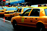 NYC Rush Hour Street Scene with traffic of taxis