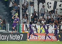 Calcio, Serie A: Juventus vs Fiorentina. Torino, Juventus Stadium, 20 agosto 2016.<br /> Fiorentina&rsquo;s Nikola Kalinic, left, celebrates with teammates, from second from left, Carlos Sanchez, Cristian Tello and Matias Vecino, after scoring during the Italian Serie A football match between Juventus and Fiorentina at Turin's Juventus Stadium, 20 August 2016. Juventus won 2-1.<br /> UPDATE IMAGES PRESS/Isabella Bonotto