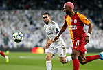 Real Madrid CF's Dani Carvajal and Galatasaray's Ryan Babel competes for the ball during UEFA Champions League match, groups between Real Madrid and Galatasaray SK at Santiago Bernabeu Stadium in Madrid, Spain. November, Wednesday 06, 2019.(ALTERPHOTOS/Manu R.B.)