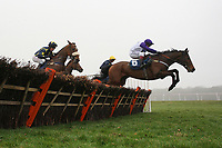 Cuckoo Pen ridden by Mattie Batchelor leads during the the Berry Bros & Rudd National Hunt Novices Hurdle - Horse Racing at Newbury Racecourse, Berkshire
