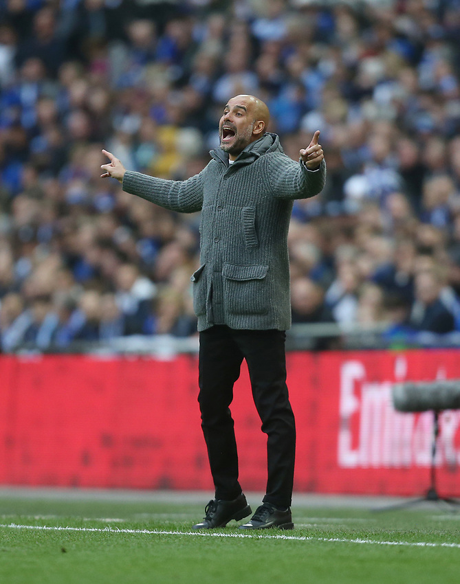 Manchester City manager Pep Guardiola <br /> <br /> Photographer Rob Newell/CameraSport<br /> <br /> Emirates FA Cup Semi-Final - Manchester City v Brighton & Hove Allbion - Saturday 6th April 2019 - Wembley Stadium - London<br />  <br /> World Copyright © 2019 CameraSport. All rights reserved. 43 Linden Ave. Countesthorpe. Leicester. England. LE8 5PG - Tel: +44 (0) 116 277 4147 - admin@camerasport.com - www.camerasport.com