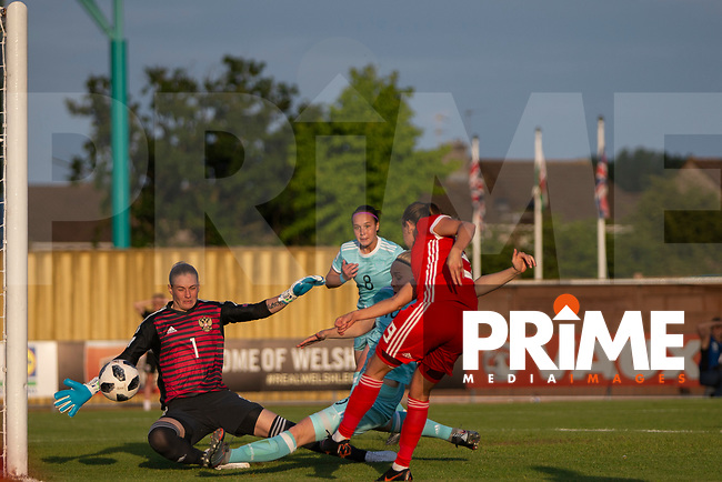 Kayleigh Green of Wales scores her side's first goal during the International World Cup Qualifier match between Wales Women and Russia Women at Rodney Parade, Newport, Wales on 12 June 2018. Photo by Mark  Hawkins.
