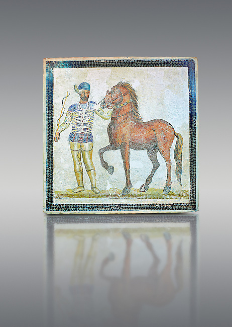 Roman geometric floor mosaic depicting horsemen and their horses from the Circus  from  a room of a villa  in the locality Baccano near the Via Cassia, Rome. Beginning of the 3rd century AD. National Roman Museum, Rome, Italy
