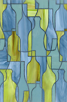 Bottles, a glass waterjet shown in Peridot, Serpentine and Mica, is part of the Erin Adams Collection for New Ravenna Mosaics.<br />