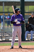Colorado Rockies right fielder Stephen Cardullo (9) at bat during an Extended Spring Training game against the Chicago Cubs at Sloan Park on April 17, 2018 in Mesa, Arizona. (Zachary Lucy/Four Seam Images)
