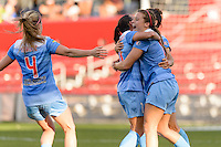 Bridgeview, IL, USA - Sunday, May 29, 2016: Chicago Red Stars forward Sofia Huerta (11) celebrates her goal with teammates during a regular season National Women's Soccer League match between the Chicago Red Stars and Sky Blue FC at Toyota Park. The game ended in a 1-1 tie.