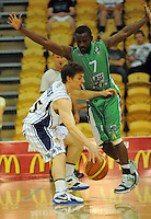 Nuggets' James Ross tries to get past Chris Hagen. NBL  - Manawatu Jets  v Otago Nuggets at Arena Manawatu, Palmerston North, New Zealand on Sunday 5 June 2011. Photo: Dave Lintott / lintottphoto.co.nz