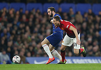 Chelsea's Gonzalo Higuain and Manchester United's Nemanja Matic<br /> <br /> Photographer Rob Newell/CameraSport<br /> <br /> Emirates FA Cup Fifth Round - Chelsea v Manchester United - Monday 18th February - Stamford Bridge - London<br />  <br /> World Copyright © 2019 CameraSport. All rights reserved. 43 Linden Ave. Countesthorpe. Leicester. England. LE8 5PG - Tel: +44 (0) 116 277 4147 - admin@camerasport.com - www.camerasport.com