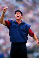 Payne Stewart's joyfull reaction after sinking a put on the 18th green of the final round of the 1999 US OPEN Golf to win at Pinehurst II.
