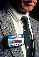 Hollywood, Los Angeles, California. November 1982. The artist-inventor Philip Garner devises the most incredible and stunning objects. If you want people to remember you,  this little gadget attached to the lapel of your jacket will repeat your name every ten seconds while your name appears in neon letters.