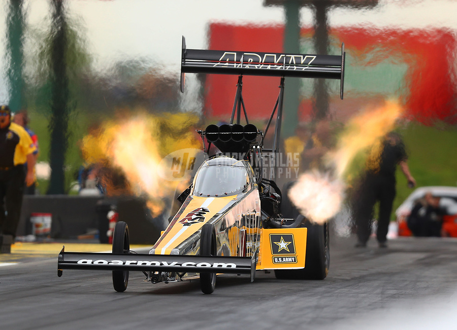 May 19, 2017; Topeka, KS, USA; NHRA top fuel driver Tony Schumacher during qualifying for the Heartland Nationals at Heartland Park Topeka. Mandatory Credit: Mark J. Rebilas-USA TODAY Sports