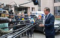 Pictured: British Prime Minister David Cameron Thursday 18 February 2016<br /> Re: David Cameron looks set to secure European Union deal on Britain's reforms during a summit in Brussels, Belgium.