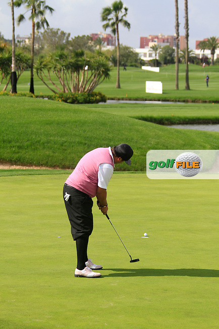 Joel Sjoholm (SWE) on the 16th green during Friday's Round 2 of the Open de Espana at Real Club de Golf de Sevilla, Seville, Spain, 4th May 2012 (Photo Eoin Clarke/www.golffile.ie)