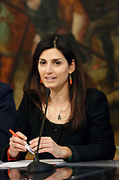 Mayor of Rome Virginia Raggi <br /> Rome April 11th 2019. Palazzo Chigi. Presentation of the 76° edition of International BNL of Italy tennis tournament.<br /> photo di Samantha Zucchi/Insidefoto