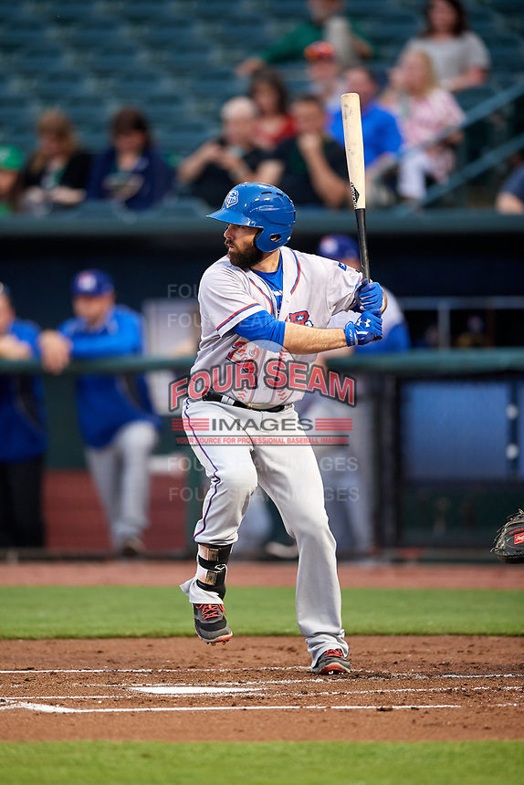 Round Rock Express designated hitter Brett Nicholas (22) at bat during a game against the Memphis Redbirds on April 28, 2017 at AutoZone Park in Memphis, Tennessee.  Memphis defeated Round Rock 9-1.  (Mike Janes/Four Seam Images)