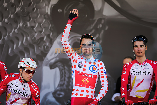 Nicolas Edet (FRA) and Cofidis at sign on before Stage 7 of the 78th edition of Paris-Nice 2020, running 166.5km from Nice to Valdeblore La Colmiane, France. 14th March 2020.<br /> Picture: ASO/Fabien Boukla | Cyclefile<br /> All photos usage must carry mandatory copyright credit (© Cyclefile | ASO/Fabien Boukla)