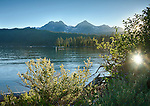 Idaho, South Central, Stanley. Summer sunset at Redfish Lake in the Sawtooth National Recreation Area.