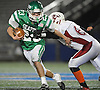 Seaford No. 23 Danny Roell rushes for a gain during a Nassau County varsity football Conference IV semifinal against Clarke at Hofstra University on Thursday, Nov. 12, 2015. He ran for 204 yards and four touchdowns in the first half. Seaford went to halftime leading 42-0.<br /> <br /> James Escher