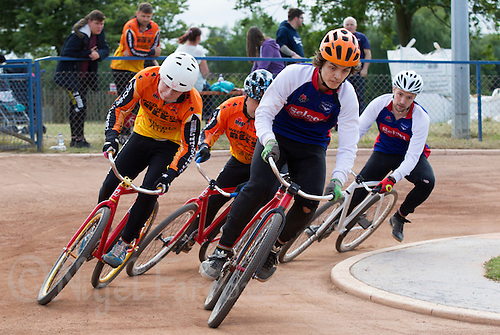12 JUL 2015 - IPSWICH, GBR - Jamie Chittock of Ipswich Eagles leads during the teams Elite League cycle speedway fixture against Wednesfield Aces at Whitton Sports and Community Centre in Ipswich, Suffolk, Great Britain (PHOTO COPYRIGHT © 2015 NIGEL FARROW, ALL RIGHTS RESERVED)