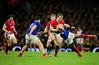 Hadleigh Parkes of Wales is tackled by Virimi Vakatawa of France during the Guinness Six Nations Championship Round 3 match between Wales and France at the Principality Stadium in Cardiff, Wales, UK. Saturday 22 February 2020