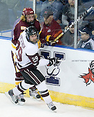 Justin Faulk (Duluth - 25), Adam Presizniuk (Union - 29) - The University of Minnesota-Duluth Bulldogs defeated the Union College Dutchmen 2-0 in their NCAA East Regional Semi-Final on Friday, March 25, 2011, at Webster Bank Arena at Harbor Yard in Bridgeport, Connecticut.