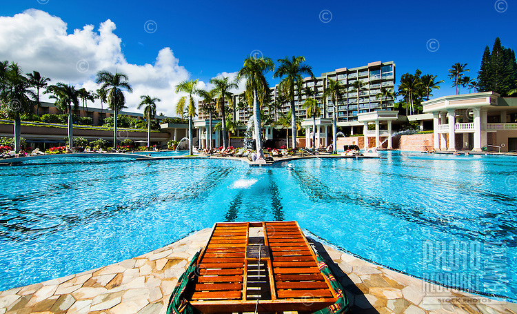 Visitors enjoy a sprawling pool at the Marriott Resort in Lihue, Kaua'i.