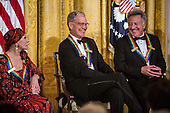 Ballerina Natalia Makarova, Comedian David Letterman, and actor Dustin Hoffman (L-R) attend the Kennedy Center Honors reception at the White House on December 2, 2012 in Washington, DC. The Kennedy Center Honors recognized seven individuals - Buddy Guy, Dustin Hoffman, David Letterman, Natalia Makarova, John Paul Jones, Jimmy Page, and Robert Plant - for their lifetime contributions to American culture through the performing arts..Credit: Brendan Hoffman / Pool via CNP
