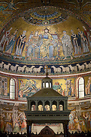 Italy, Lazio, Rome: Mosaics inside the church of Santa Maria in Trastevere, Piazza Santa Maria in Trastevere | Italien, Latium, Rom: Mosaiken im Innern der Kirche Santa Maria in Trastevere auf der Piazza Santa Maria in Trastevere