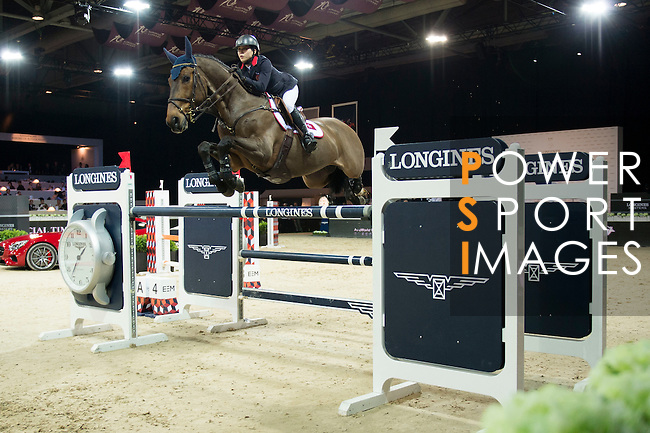 Jacqueline Lai on Capone 22 competes during the Table A with Jump-off 145 - Airbus Trophy at the Longines Masters of Hong Kong on 20 February 2016 at the Asia World Expo in Hong Kong, China. Photo by Li Man Yuen / Power Sport Images