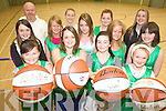 TEAM KERRY: Getting the practice in for the upcoming Team Kerry Basketball Camp in Causeway in August, front l-r: Roisin O'Regan, Shannon Lowe, Molly Regan, Aideen Casey. Middle row: Davina Guerin, Suzanne Barron, Tara Lowe, Vicky Byrne, Katie O'Regan. Back l-r: Billy McGaley (Coach), Rosie Young, Aileen Corridon, Mairead Sheahan.