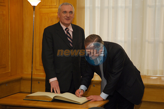 State visit to Ireland by the Minister of Foreign Affairs of Ukraine, H.E. Mr. Borys Tarasyuk in Dublin 08/02/2006. Ireland Taoiseach Bertie Ahern TD welcomes H.E. Mr. Borys Tarasyuk to Government buildings, Dublin..Photo AFP/NEWSFILE/BARRY CRONIN.(Photo credit should read AFP PHOTO BARRY CRONIN/NEWSFILE)...This Picture has been sent you under the condtions enclosed by:.Newsfile Ltd..the Studio,.Millmount Abbey,.Drogheda,.Co Meath..Ireland..Tel: +353(0)41-9871240.Fax: +353(0)41-9871260.GSM: +353(0)86-2500958.email: pictures@newsfile.ie.www.newsfile.ie.FTP: 193.120.102.198..This picture is from Fran Caffrey@newsfile.ie
